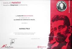 Diploma de la medalla a Empresas Centenarias 2011, por nuestra trayectoria empresarial desde 1880