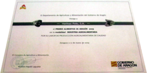 Diploma a la Mejor Empresa Alimentaria de Aragón