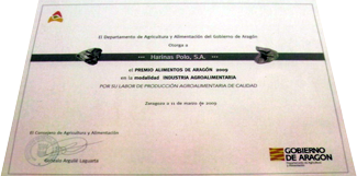 Diploma to the Best Food Company of Aragon